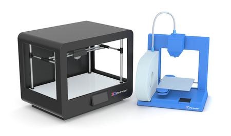rapid prototyping: two models of 3d printers (3d render)