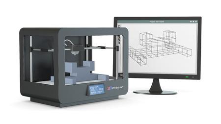 ein 3D-Drucker mit einem Computer-Monitor mit einer CAM-Software, und ein Prototyp (3d render)