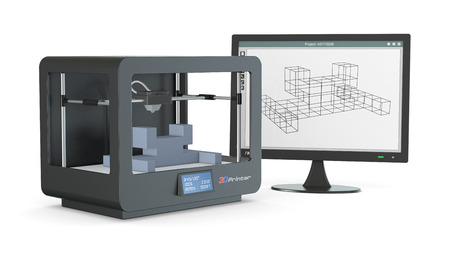 rapid prototyping: one 3d printer with a computer monitor with a cam software, and a prototype (3d render)