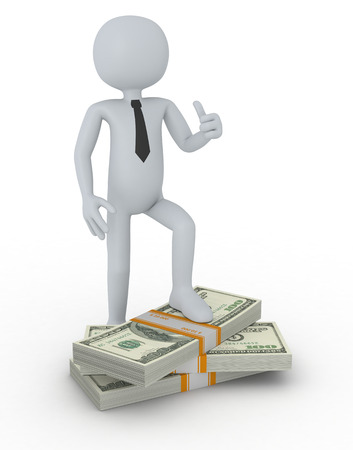 man thumbs up: one puppet with a stack of banknotes and the hand that shows a thumb up, concept of success and wealth (3d render)
