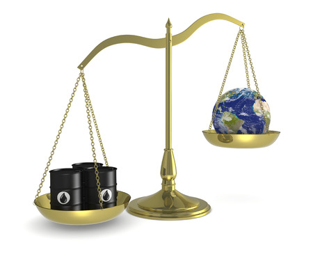 one balance with oil barrels and a earth globe, concept of pollution (3d render) photo