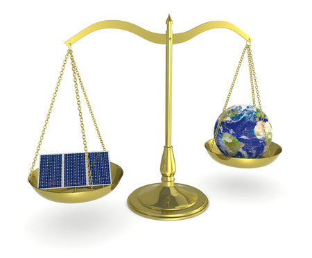 energy balance: one balance with an earth globe and solar panels, concept of renewable energy (3d render) Stock Photo