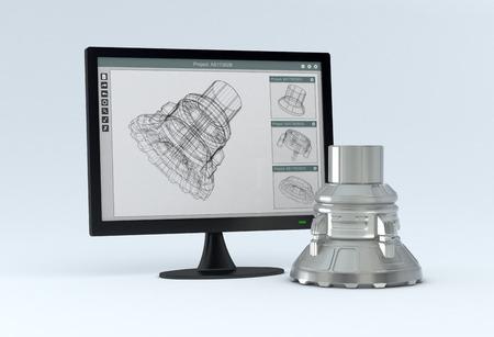 een computer monitor met een CAM-software en het eindproduct in de buurt van het 3d render Stockfoto
