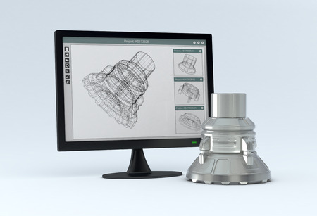 engineering drawing: one computer monitor with a cam software and the finished product near it  3d render  Stock Photo