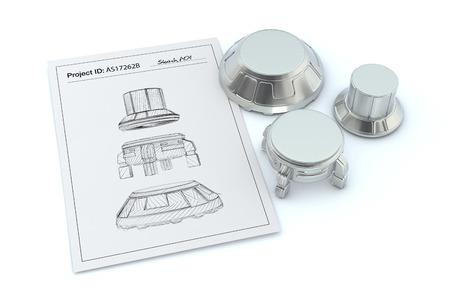기계 부품의 스케치하고 3D 렌더링 근처에 완성 된 제품으로 하나의 종이 시트