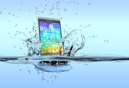 internet movil: un smartphone que cae en el agua con salpicaduras alrededor de ella, el concepto de producto impermeable de procesamiento 3D