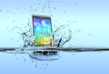 one smartphone that falls in the water with splashes around it, concept of waterproof product  3d render