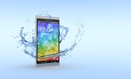 주위에 물 밝아진 한 스마트 폰, 방수 제품의 개념 3d 렌더링