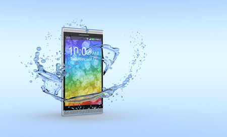 colorful water surface: one smartphone with water splashes around it, concept of waterproof product  3d render  Stock Photo