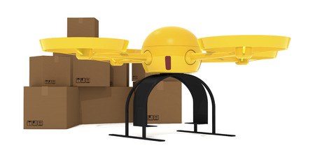 One yellow drone with many carton box on background, concept of transport and delivery (3d render) photo