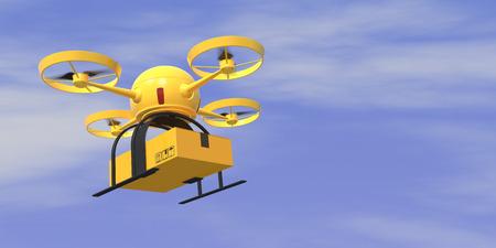 Eine fliegende Drohne trägt einen Karton mit Himmel im Hintergrund (3d render)