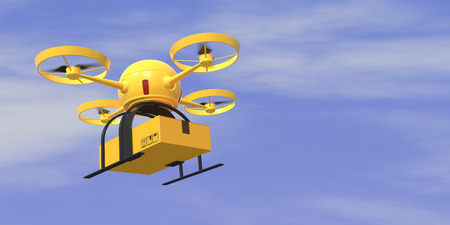 drone: One flying drone carrying a carton box with sky on background (3d render) Stock Photo