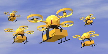 Some flying drones carrying a carton box with sky on background (3d render)