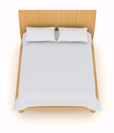 top view of a double bed with white pillows and blanket (3d render) photo