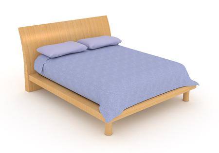 double bed: one modern double bed with pillows and blanket (3d render) Stock Photo