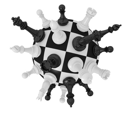 spherical chess board with some pieces (3d render) photo