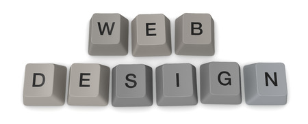 hypertext: keys of an old keyword forming the words: web design (3d render)