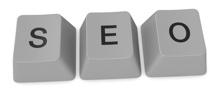 keys of an old keyword forming the word: seo (3d render) photo