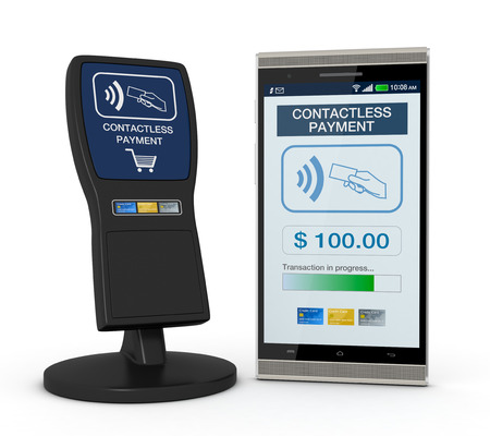 contactless: one device for contactless payments with a smartphone (3d render) Stock Photo