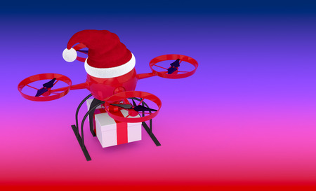 one drone or quadcopter with a Christmas hat and a gift box (3d render) photo