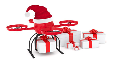 one drone or quadcopter with a Christmas hat and some gift boxes (3d render) photo