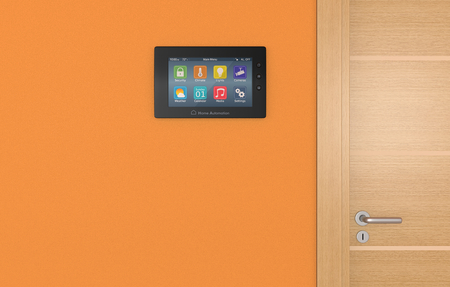sistema: panel de control de pared para sistema dom�tico (3d) Foto de archivo