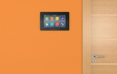 domotique: panneau de commande mural pour syst�me de domotique (3d render) Banque d'images