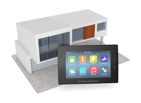 control panel for home automation system with a modern house (3d render)