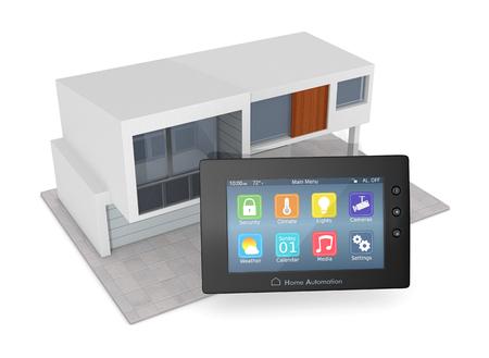 tablero de control: panel de control para sistema domótico con una casa moderna (3d)