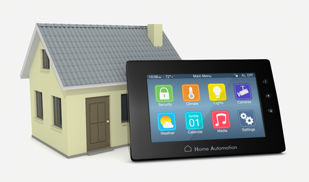 temperature controller: control panel for home automation system with a small house (3d render) Stock Photo