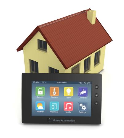domotique: panneau de commande pour le syst�me d'automatisation de la maison avec une petite maison (3d render)