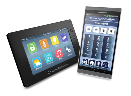 remote access: control panel for home automation system with a smartphone with an app for remote control (3d render)