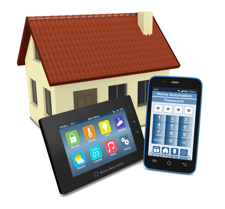 home audio: control panel for home automation system with a smartphone with an app for remote control and a small house on background (3d render)