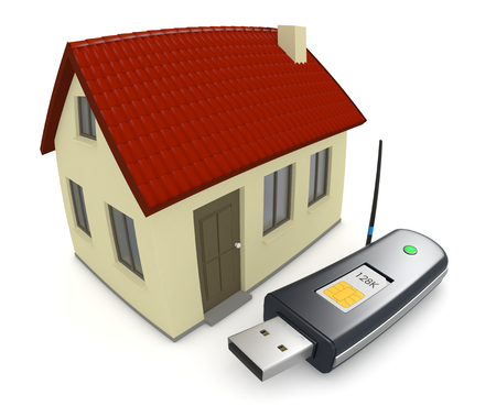 Wi Fi: one usb internet key with a small house, concept of home wireless connection, fisheye effect (3d render)