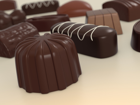 some chocolates of different shapes (3d render) photo