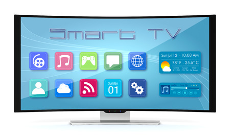 ultra modern: one curved smart tv, with apps screen (3d render) Stock Photo