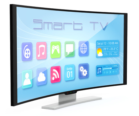 een gebogen Smart TV, met apps scherm (3d render) Stockfoto