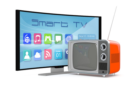 crt: one smart tv curved and an old tv, concept of old and new technology (3d render)