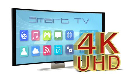 one curved smart tv, with apps screen and the 4k uhd text (3d render) photo