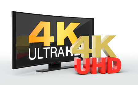 ultra modern: one curved smart tv, with the text: 4k uhd on the screen (3d render)
