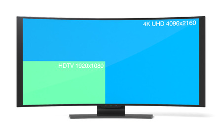 oled: one curved smart tv, with a screen that shows the difference between full hd and 4h uhd (3d render)