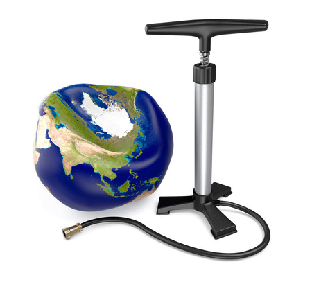 deflated: one earth globe deflated, concept of disease, with a bike pump (3d render) Stock Photo
