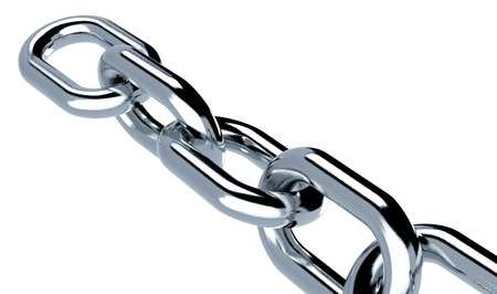 chain links: close-up view of a metal chain on white background (3d render)