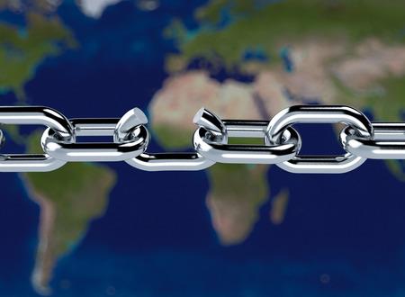 broken link: close-up di una catena di metallo con un link non funzionante e una mappa del mondo su sfondo, concetto di libert� (rendering 3d) Archivio Fotografico