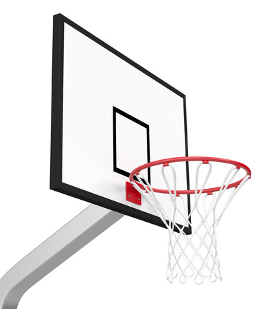 close-up view of a basketball hoop on white background (3d render) photo
