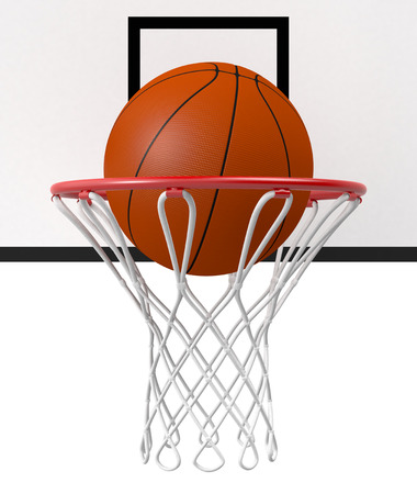 close-up view of a basketball hoop and a ball falling through the hoop (3d render) photo