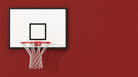 front view of a basketball hoop on red background and some space for custom text (3d render) photo