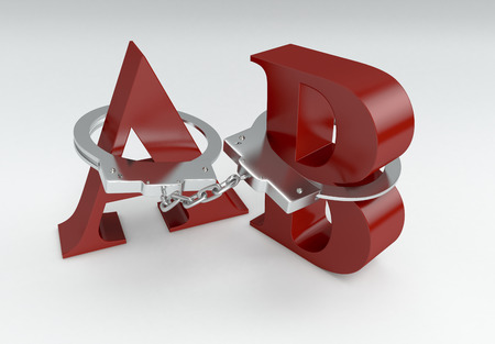 dictatorship: letters a and b with handcuffs, concept of lack of freedom of speech (3d render) Stock Photo