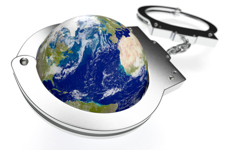 dictatorship: one earth globe with handcuffs, concept of lack of freedom or oppression (3d render)