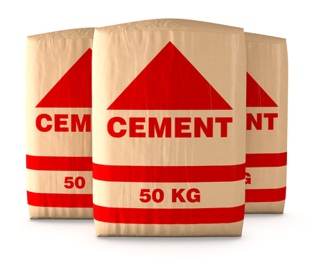 white paper bag: front view of bags of cement on white background (3d render)